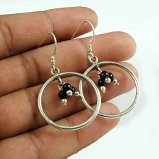 Well-Favoured Black Onyx Beaded Gemstone 925 Sterling Silver Earrings Jewellery