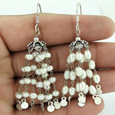 Intrigant !! Natural Pearl Sterling Silver Earrings Jewelry Fabricante