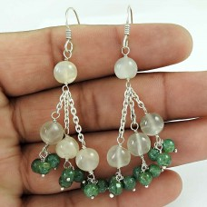 Schemer !! Aventurine, Moonstone Gemstone Sterling Silver Earrings Jewelry Grossiste