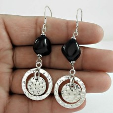 Beautiful Black Onyx Gemstone Sterling Silver Earrings Jewelry Großhandel