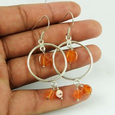 Excellent Carnelian Beaded 925 Sterling Silver Vintage Earrings Jewellery