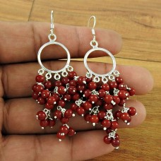 Beautiful Coral Beaded Gemstone 925 Sterling Silver Earrings Jewellery