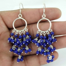 Favorite !! Lapis Gemstone Sterling Silver Earrings Jewelry Hersteller