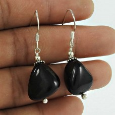 Trendy Black Onyx Gemstone 925 Sterling Silver Dangle Earrings Handmade Jewellery