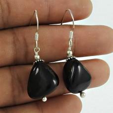 Trendy Black Onyx Gemstone 925 Sterling Silver Dangle Earrings Handmade Jewellery
