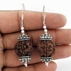 Sterling Silver Jewelry Ethnic Rudraksha Gemstone Earrings
