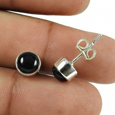 Rattling Black Onyx Gemstone Sterling Silver Stud Earrings 925 Silver Jewellery