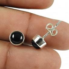Rattling Black Onyx Gemstone Sterling Silver Stud Earrings 925 Silver Jewellery