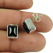 Rare Black Onyx Gemstone Sterling Silver Stud Earrings 925 Sterling Silver Fashion Jewellery