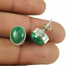 Beautiful Malachite Gemstone Sterling Silver Stud Earrings 925 Silver Jewellery