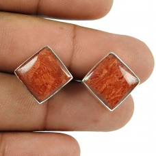 Party Wear Sponge Coral Gemstone Sterling Silver Stud Earrings Sterling Silver Fashion Jewellery