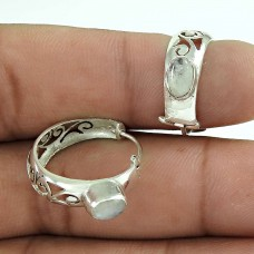 925 Sterling Silver Antique Jewellery Traditional Rainbow Moonstone Earrings