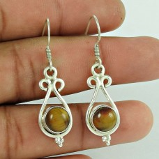 Precious !! Tiger Eye Gemstone Sterling Silver Earrings Jewelry Exporter