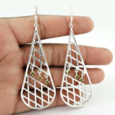 Best Quality !! Peridot Gemstone Sterling Silver Earrings Jewelry Wholesaling