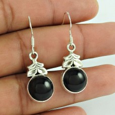 Indian Silver Jewelry Ethnic Black Onyx Gemstone Earrings
