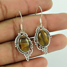 Top Quality !! Tiger Eye Gemstone Sterling Silver Earrings Jewelry Supplier