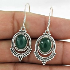 Rattling 925 Sterling Silver Green Onyx Gemstone Earrings