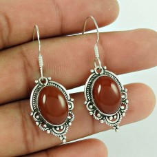 Scrumptious 925 Sterling Silver Carnelian Gemstone Earrings
