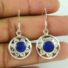 Handy 925 Sterling Silver Lapis Gemstone Earrings