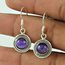 Deluxe !! Amethyst Gemstone Sterling Silver Earrings Jewelry Wholesaler India
