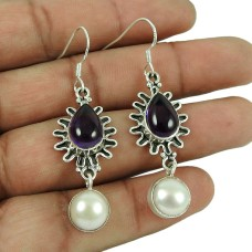 925 Sterling Silver Jewelry Beautiful Amethyst, Pearl Gemstone Earrings