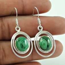 Charming 925 Sterling Silver Malachite Gemstone Earrings
