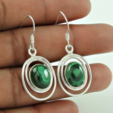 Sterling Silver Jewelry Traditional Malachite Gemstone Earrings