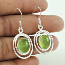 Fashion 925 Sterling Silver Prehnite Gemstone Earrings