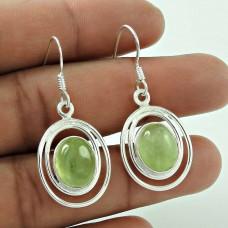 Designer 925 Sterling Silver Prehnite Gemstone Earrings