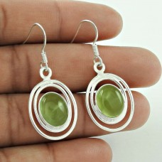 925 Silver Jewelry High Polish Prehnite Gemstone Earrings