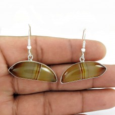 Big Amazing !! 925 Sterling Silver Striped Onyx Earrings