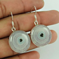 925 Silver Jewelry Fashion Moon Solar Fossil Gemstone Earrings
