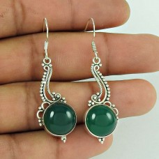 Beautiful 925 Sterling Silver Green Onyx Gemstone Earring Jewellery