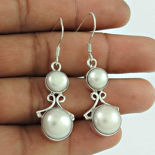 Lovely PearlIndian Sterling Silver Earrings Jewellery