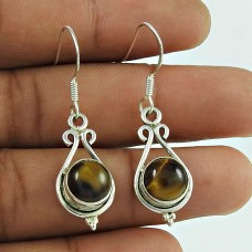 Good-Looking Tiger Eye Gemstone 925 Sterling Silver Antique Earrings Jewellery