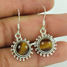 Rare 925 Sterling Silver Tiger Eye Gemstone Earring Ethnic Jewellery