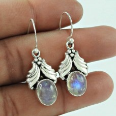 Beautiful 925 Sterling Silver Rainbow Moonstone Ethnic Earring Jewellery