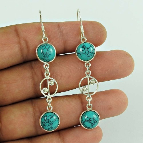 Trendy 925 Sterling Silver Turquoise Gemstone Earring Jewellery