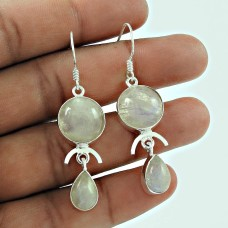 Daily Wear 925 Sterling Silver Rainbow Moonstone Earring Jewellery