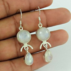 Special Moment !! Rainbow Moonstone Gemstone Sterling Silver Earrings Jewelry Fabricant