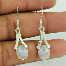 Designer 925 Sterling Silver Rainbow Moonstone Earring Traditional Jewellery
