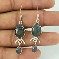 Vintage Fashion !! Labradorite Gemstone Sterling Silver Earrings Jewelry Supplier