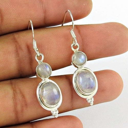 Rattling 925 Sterling Silver Rainbow Moonstone Earring Jewellery