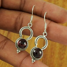 Garnet Gemstone Ethnic Earring 925 Sterling Silver Handmade Jewellery