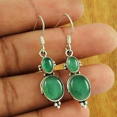 Green Onyx Gemstone Earring 925 Sterling Silver Vintage Jewellery