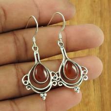 Seemly Carnelian Gemstone 925 Sterling Silver Earrings Traditional Jewellery