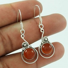 Charming 925 Sterling Silver Vintage Carnelian Gemstone Earring Jewellery