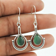 Fashion 925 Sterling Silver Antique Green Onyx Gemstone Earring Jewellery