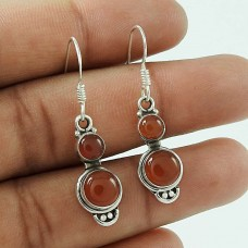Pretty 925 Sterling Silver Carnelian Gemstone Earring Jewellery
