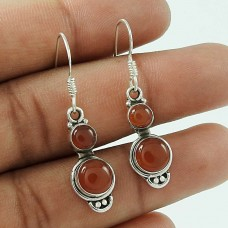 Lovely Indian Sterling Silver Carnelian Gemstone Earring Jewellery